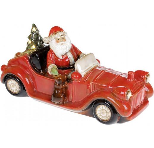 Декор новогодний «Санта в красном автомобиле» с LED подсветкой 36х14х18см BD-197-724