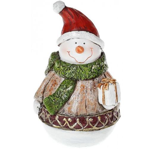 "Декоративная статуэтка ""Снеговик с подарком"" 14.5см BD-218-759"