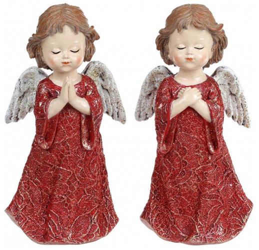 "2 декоративных подвески ""Ангел Бордо"" 8.5х6х16.5см, полистоун BD-218-833"