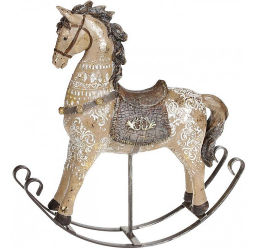"""Декоративная статуэтка-качалка """"Лошадка"""" 23х6х24см, полистоун, коричневая с золотом"""