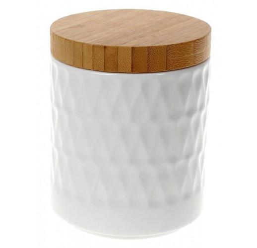 Банка фарфоровая Nouvelle Home Blob 550мл с бамбуковой крышкой