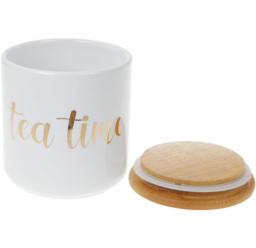 """Банка Merceyl """"Tea Time"""" 550мл керамическая с бамбуковой крышкой, белая BD-304-924"""