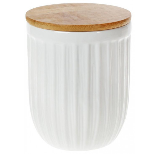 Банка керамическая «Corrugation» White Style 700мл с бамбуковой крышкой BD-304-934