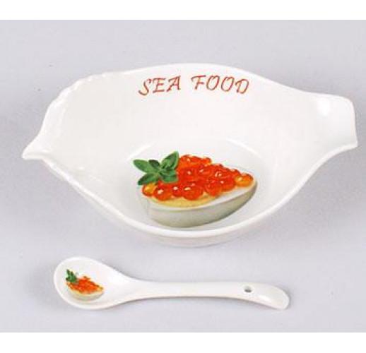 Икорница Bona Sea Food 16см с фарфоровой ложкой BD-324-114