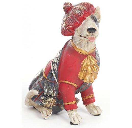 "Декоративная фигурка ""Собака шотландка в красном кафтане"" 15см BD-419-113-PB"
