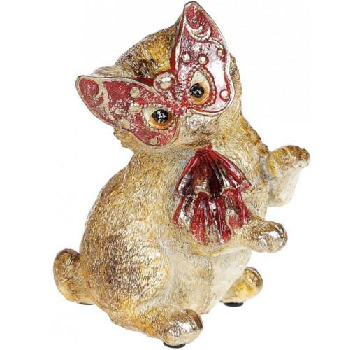 """Декоративная статуэтка """"Кошечка на маскараде"""" 13х10.5х16см, в красной маске BD-419-152-PB"""