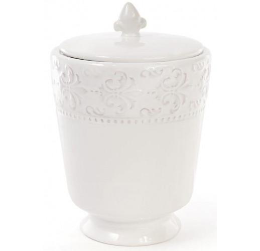 Банка керамическая Leeds Королевская Лилия кухонная 1200мл, белая BD-545-220