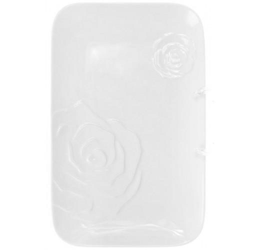 """Блюдо фарфоровое """"White Rose"""" прямоугольное 34х21.5см (белый фарфор) BD-558-518"""