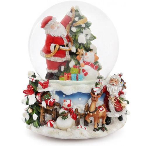 """Декоративный водяной шар """"Санта украшает ёлочку"""" 15.5см, музыкальный"""