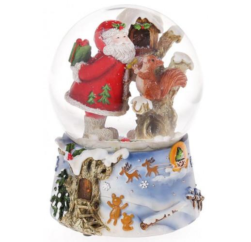 """Декоративный водяной шар """"Санта раздает подарки"""" 14.5см, музыкальный BD-559-380"""