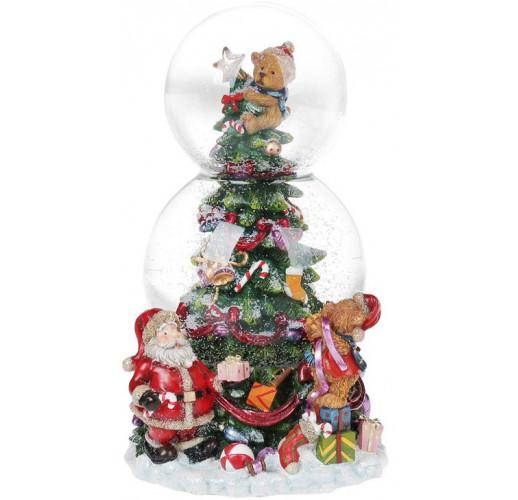 """Декоративный водяной шар """"Рождественская ель"""" 20.5см, музыкальный BD-559-417"""