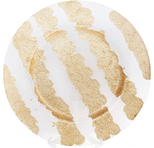 Блюдо сервировочное Golden Shine декоративное Ø33см, подставная тарелка, стекло BD-587-001