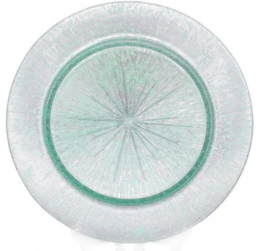 Блюдо сервировочное Mirjana Green декоративное Ø33см, подставная тарелка, стекло BD-587-020