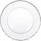 Блюдо сервировочное прозрачное с серебряной каймой 33см, подставная тарелка, стекло