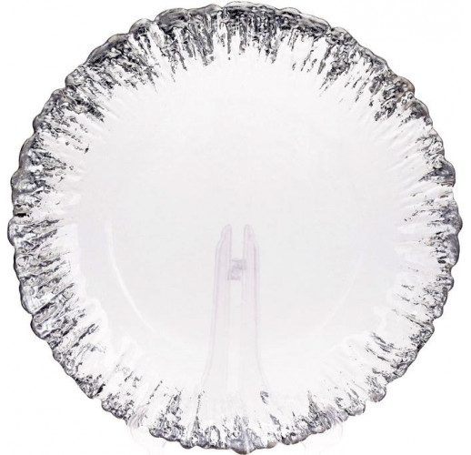 Блюдо сервировочное 33см, подставная тарелка, стекло, прозрачное с серебряной каймой к центру