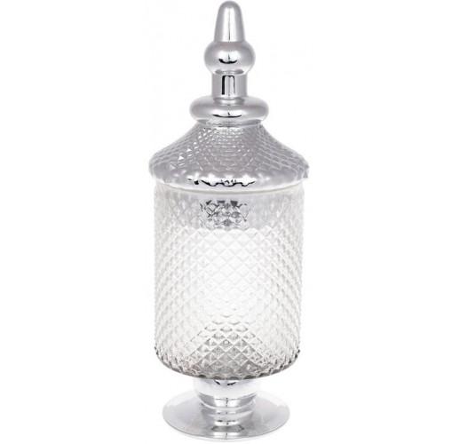 Банка Шевалье 12.5х13.5х37.5см стеклянная с серебром BD-591-218