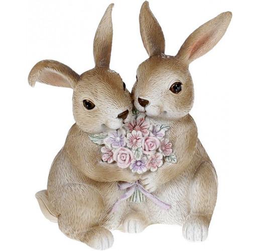 """Декоративная статуэтка """"Кролики с цветами"""" 11х6.5х12.5см, полистоун, розовый"""
