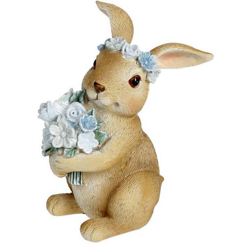 """Декоративная статуэтка """"Кролик с цветами"""" 7.5х7.5х11см, полистоун, голубой"""