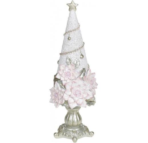 "Декоративная статуэтка ""Елка в розовых цветах"" 10х10х29см, шампань BD-707-800"