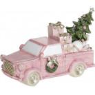 """Декоративная статуэтка """"Розовый автомобиль с елью"""" с LED подсветкой 15х6х9см BD-707-810"""