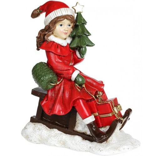 "Декоративная статуэтка ""Девочка с ёлкой на санках"" 19х11х22см, красный"