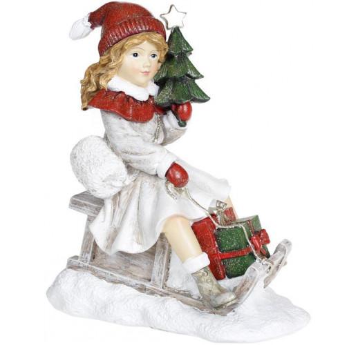 "Декоративная статуэтка ""Девочка с ёлкой на санках"" 19х11х22см, белый с красным BD-707-855"