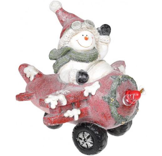 Декор «Снеговик в красном самолете» с LED подсветкой, керамика, 37.5х33х34.5см BD-711-343