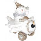 Декор «Снеговик в белом самолете» с LED подсветкой, керамика, 37.5х33х34.5см BD-711-344