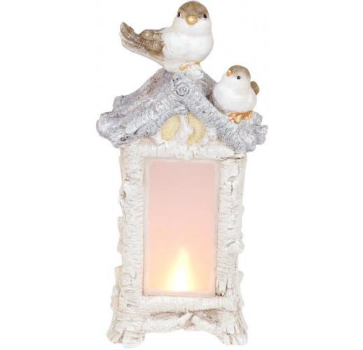 Декоративная композиция «Птичий домик» с LED-подсветкой 21х14.5х44см, шампань BD-711-354