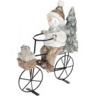Декоративная статуэтка «Снеговик на велосипеде» 23х9х26.5см шампань, керамика BD-711-373