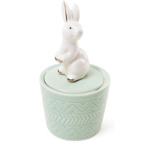 "Декоративная шкатулка-статуэтка ""Грациозный кролик"" 7.3х7.3х13.5см, мятная BD-727-140"
