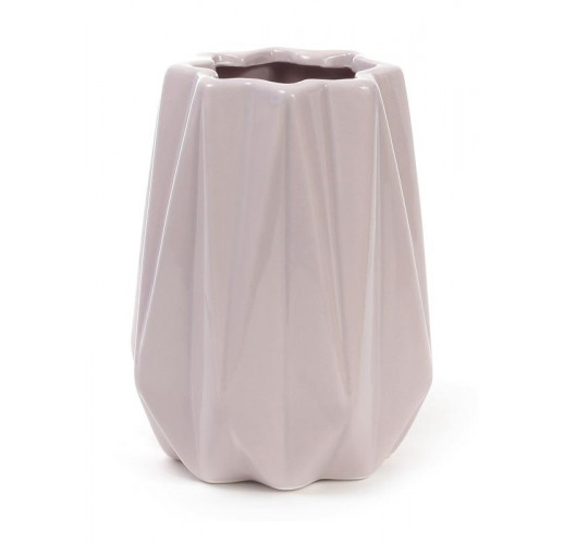 Ваза керамическая Stone Flower 16см, песочного цвета с розовым