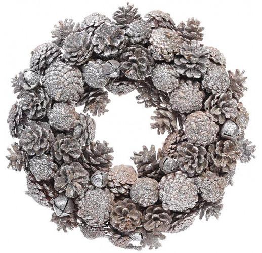 Декоративный венок из натуральных шишек Ø34см BD-814-107