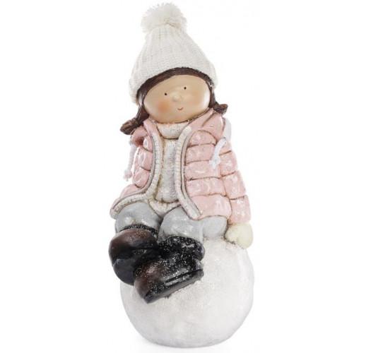 """Декоративная фигура """"Девочка на снежке"""" в розовой куртке 45см BD-820-143"""