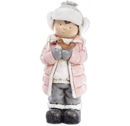 """Декоративная фигура """"Мальчик с птичкой"""" в розовой куртке 52.5см BD-820-147"""