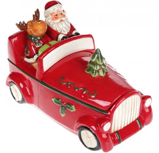 """Банка для сладостей """"Санта в машине"""", 1.5л, керамика, красная"""