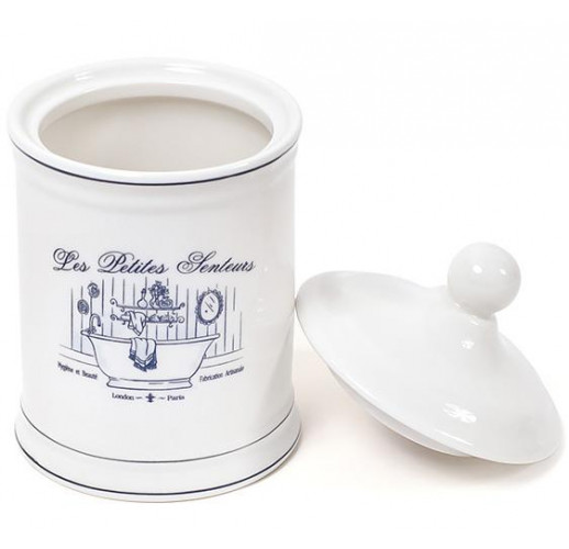 Емкость LE BAIN Silver Ø10.5х18.5см для гигиенических принадлежностей, фарфор BD-855-144