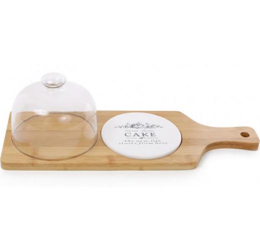Доска-блюдо Sweet Home 40х14.5х11.5см для подачи нарезки с колпаком