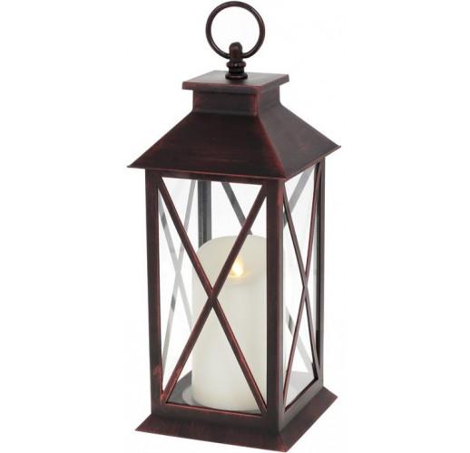"""Декоративный фонарь """"Ночной Огонек"""" с LED подсветкой 13х13х31.5см, черный с медной патиной"""