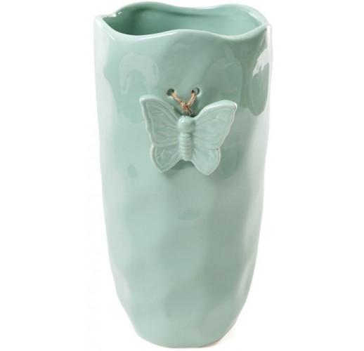 "Ваза Flowers Garden ""Бабочка"" 26см, ""мятая керамика"" аквамарин BD-902-130"