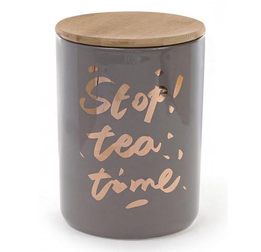 """Банка фарфоровая """"Tea time"""" 1225мл с бамбуковой крышкой, серая BD-945-124"""