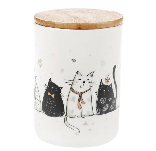 """Банка фарфоровая """"Cats in gold"""" 600мл с бамбуковой крышкой BD-945-248"""