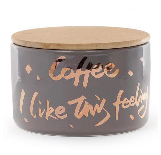 """Банка фарфоровая """"Coffee"""" 700мл с бамбуковой крышкой, серая с золотом BD-945-274"""