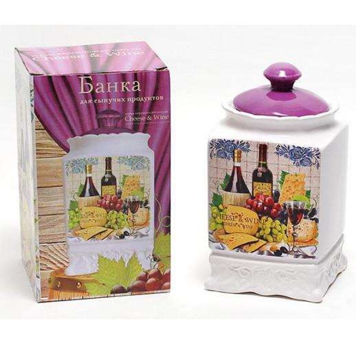 Банка Cheese&Wine 1000мл с крышкой для сыпучих продуктов BD-DU347-W