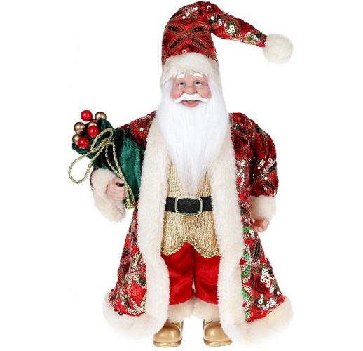 """Декоративная фигура """"Санта с мешком"""" 30см, красный с изумрудом BD-NY14-515"""