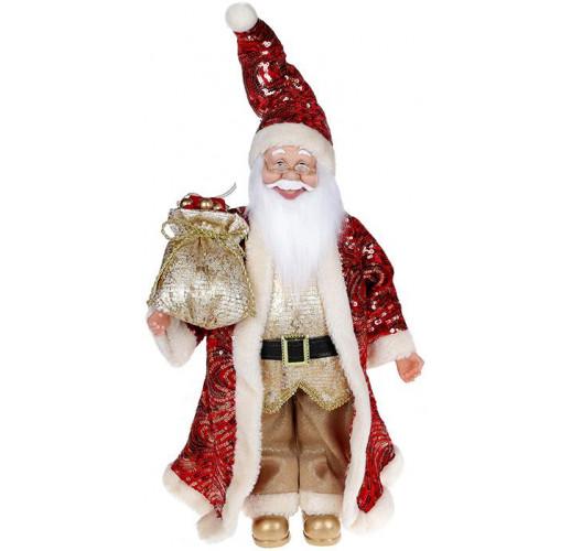 """Декоративная фигура """"Санта с мешком"""" 45см, красный с золотом BD-NY14-534"""