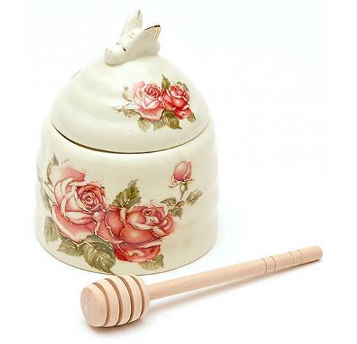 """Банка для меда Cream Rose """"Корейская Роза"""" Ø10х12.5см с деревянной ложкой-булавой BD-XX882"""