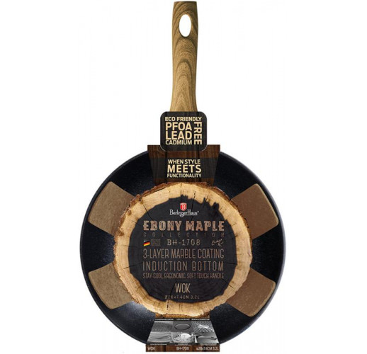 ВОК-сковорода Berlinger Haus Ebony Maple Ø28см (3.2л), мраморное антипригарное покрытие BH-1708