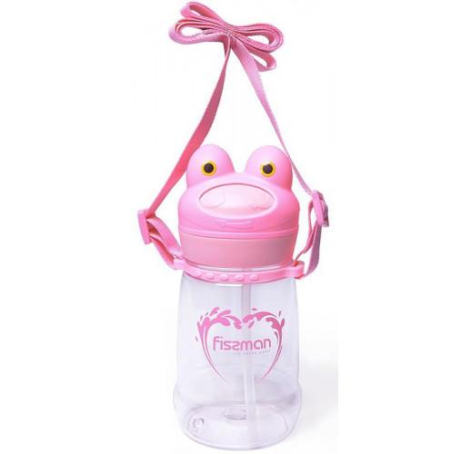 "Бутылка детская Fissman ""Лягушка"" 480мл с трубочкой, пластик"