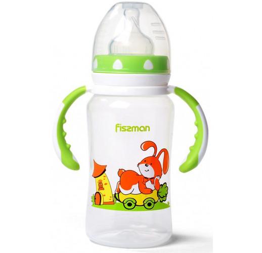 """Бутылочка детская для кормления Fissman Babies """"Зайчик на колесах"""" 300мл с ручками FN-6897"""